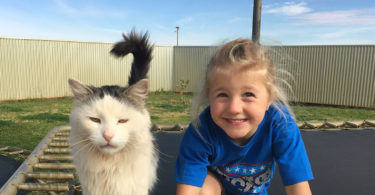 Violet Luckraft, 4, with Bobby Cat, who recently returned from his travels. Photo: Georgina Luckraft