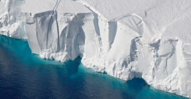 Another ice shelf, the Getz, in West Antarctica is also in the process of calving from the front of the shelf and will soon become an iceberg. Photo: NASA/Jeremy Harbeck