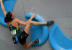 Oceana Mackenzie during the bouldering semi-final at the World Youth Championships in Guangzhou, China, in 2016. Photo: supplied