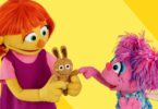 Sesame Street introduced Julia, left, a puppet with autism in 2016. Image: Sesame Street