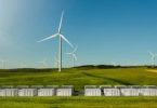 Concept of Tesla's Power pack site in front of the new Hornsdale Wind Farm, currently under construction, near Jamestown in South Australia. The battery bank will store electricity from the wind farm and then deliver it back during periods of high demand.