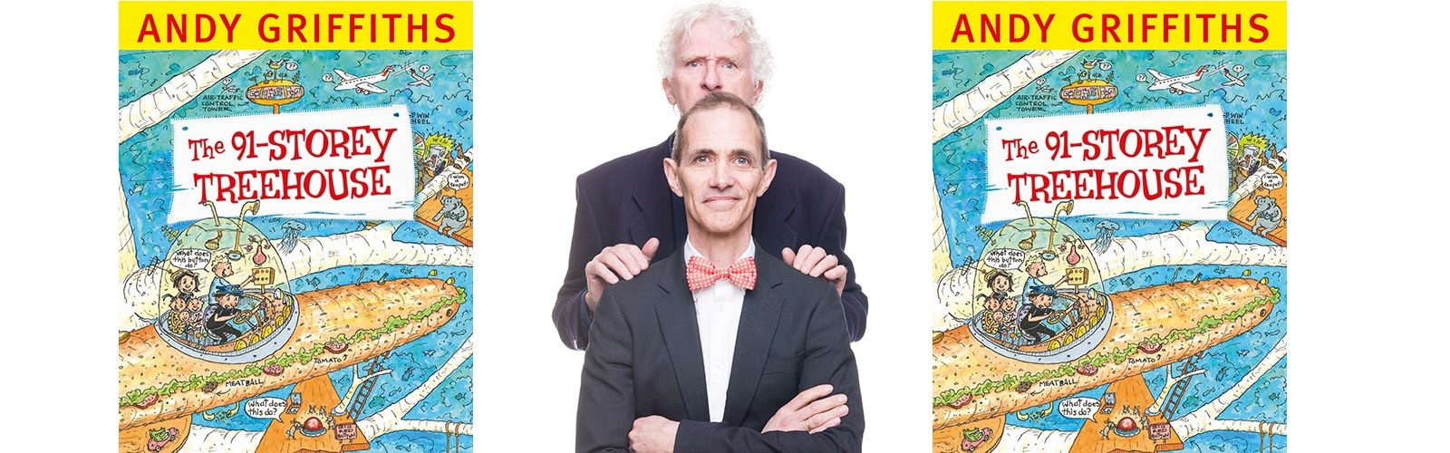 Andy Griffiths, front, and Terry Denton with The 91-Storey Treehouse book cover. Photo: supplied