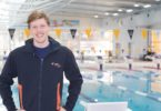 Australian junior representative Zac Stubblety-Cook with Olympic swimmer Matt Abood at the NextGen Commonwealth Games squad training camp which was held at the Australian Institute of Sport in Canberra in July. Photo: supplied