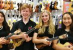 From left, Lida Magnus, 15, Dawson Woroniec, 18, Eva Bellefontaine, 20, and Clara Joo, 14, from the Langley Ukulele Ensemble which hails from Canada. Photo: Felicity Davey