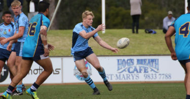 Luke Huth in action for the victorious NSWCHS (combined high schools) team at the national schoolboys championships at St Marys in Sydney. Photo: Melba Studios