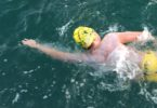 Ned Wieland swimming the English Channel on July 25. Photo: Mark Wieland