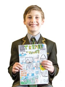 Founder of Trinity Times, Noah 11 with the first edition. Photo: Elizabeth Clancy