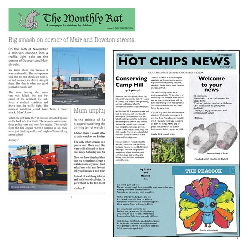 Top left, The Monthly Rat, issue eight, bottom right, Hot Chips News, second issue.