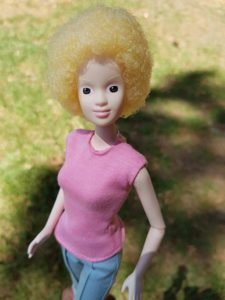 'Alexa' is a new albino doll, created by doll maker Mala Bryan in South Africa, to represent people with albinism. Photo: Mala Bryan_Mallaville Toys