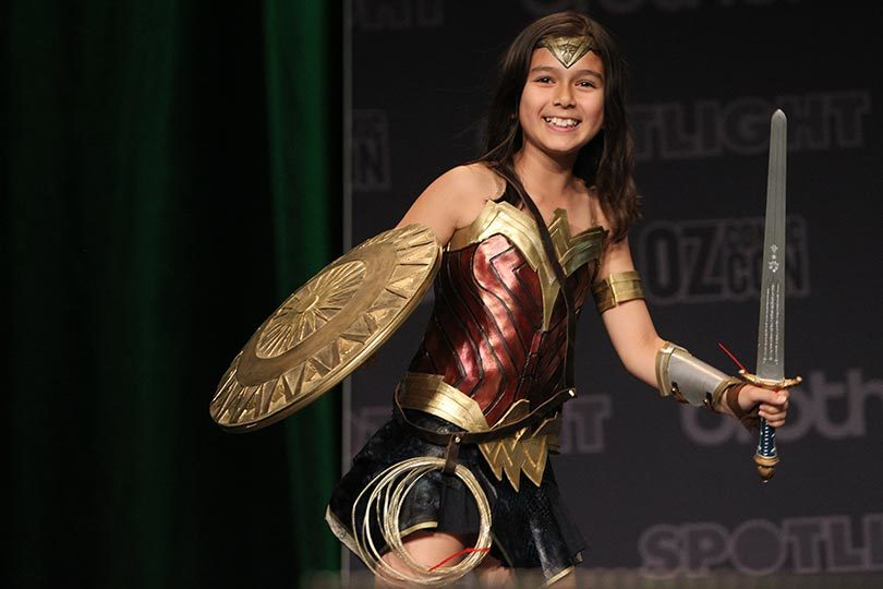 Aretha, 11, dressed as Wonder Woman for the 2017 Oz Comic-Con in Sydney. Photo: Jacky Ghossein