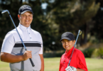 Ethan, left, and Gary Abraham were two of six juniors competing in the 2017 national Indigenous golf championships in Adelaide. Photo: James Elsby