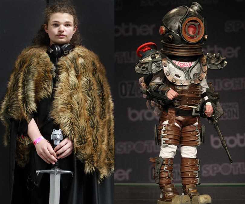 Left, Bailey, 14, dressed as Jon Snow from Game of Thrones, right, Lily, 5, dressed as Eleanor Lamb from BioShock. Photo: Jacky Ghossein