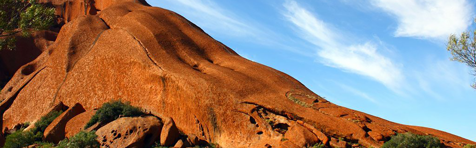 The climbing path, used by about 20 per cent of people who visit Uluru, seen here along the top edge. Photo: Chris McGaw: Flickr