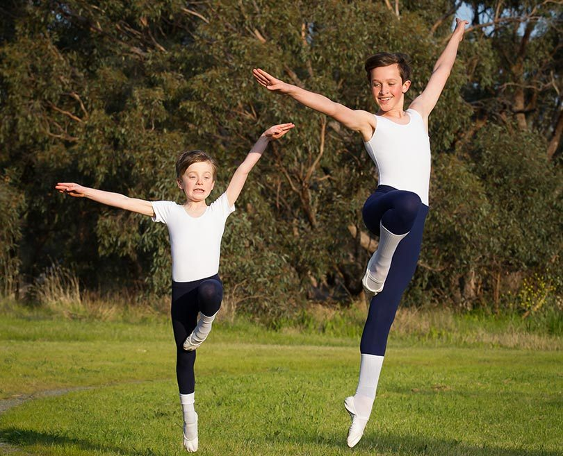 Thomas Hobbs, 8, from Vivienne Winter School of Ballet, and Gabriel Lowe, 12, from Carisma Dance and Fitness, have won scholarships to attend the Boys DANCE 18 summer school in Adelaide in January. Photo: Jo-Anna Robinson