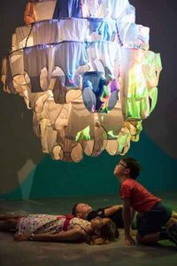 300 kids and their parents were the first to see Pipilotti Rist's 'Sip My Ocean' at the Museum of Contemporary Art in Sydney at the kids' opening on October 30, 2017. Photo: Daniel Boud