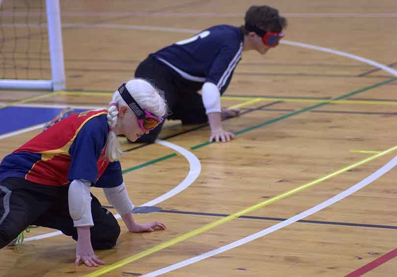 Alana Tiller playing for a combined South Australia and Victoria goalball team in Mount Gambier. Photo: supplied