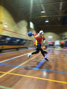 Alana Tiller ready to deliver a shot for South Australia at the national goalball championships in Melbourne in October 2017. Photo: supplied