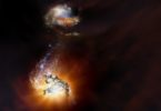 An artist's impression of the two star-bursting galaxies beginning to merge in the early universe. Image: NRAO, AUI, NSF