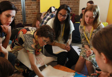 At the 2017 MediaMe conference in Sydney, young people from across Australia worked with experts, including Facebook's Clair Deevy and MoAD's Edwina Jans, to develop a national media literacy action plan. Photo: Jacky Ghossein