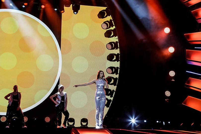 Australia's Junior Eurovision Song Contest entrant Isabella Clarke performing her song 'Speak Up' in rehearsals. Photo: JUSC, Thomas Hanses