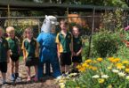Boronup Primary School's preprimary students, from left, From the left Pippa. Max, Ivy, Israel and Blair won a Young Re-inventor of the Year 2017 prize with their scarecrow and plant pots made from recycled jeans, hay and empty bottles. Photo: supplied