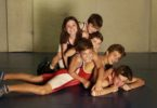 Champion wrestling siblings, from bottom, Liam Carloan, 15, Phoenix Pate, 14, Ryder Pate, 12, Zenon Pate, 11, Harmony Carolan, 8, and Lennox Carolan,5. Photo: Jacky Ghossein