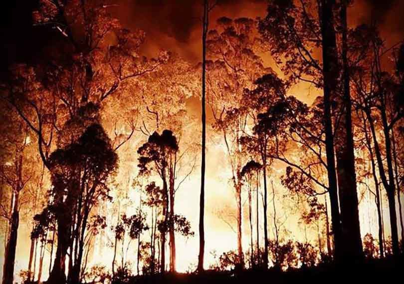 The January 2016 bushfire that destroyed much of the WA town of Yarloop. Photo: Shire of Harvey