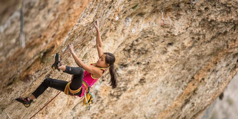 Thirteen-year-old Angie Scarth-Johnson loves climbing in Spain, because 'you can always find something awesome to climb'. Photo: Simon Carter, The North Face