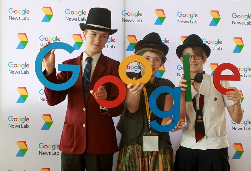 2017 MediaMe media literacy leaders in the Google photo booth. Photo: Jacky Ghossein