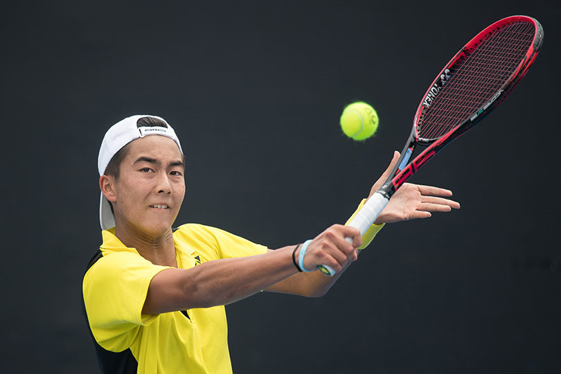 Australian junior Davis Cup player Rinky Hijikata in action at the annual December Showdown 2017 at Melbourne Park. Photo: Elizabeth Xue Bai, Tennis Australia
