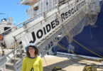 Crinkling News junior reporter Ebony Wallin before taking a tour of the JOIDES Resolution in Fremantle, Western Australia. Photo: supplied