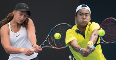 Left, promising Australian junior tennis player Megan Smith at the December Showdown. Australian junior Davis Cup player Rinky Hijikata, right, at the annual December Showdown 2017 at Melbourne Park. Photos: Elizabeth Xue Bai/ Tennis Australia