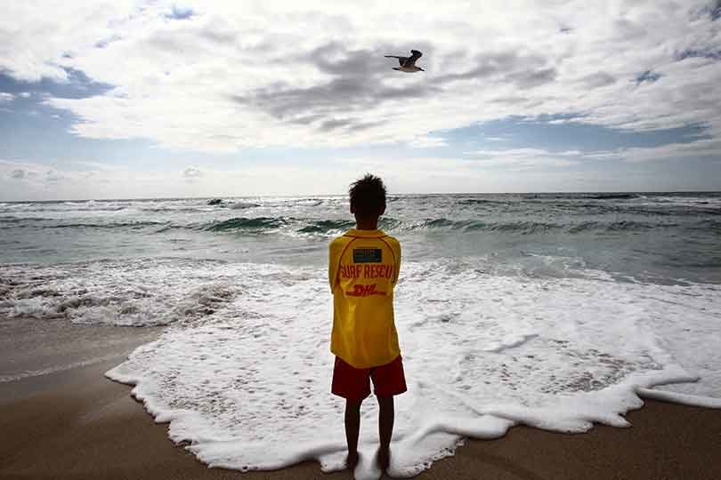 Luke McLellan, 13, has finished his surf rescue certificate at Bronte beach, in Sydney. Photo: Dean Sewell