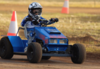 Nathan Peter, 7, is one of the youngest lawnmower racers who competed in the Moorngag race at Benalla Rose Festival on November 11, 2017. Photo: supplied