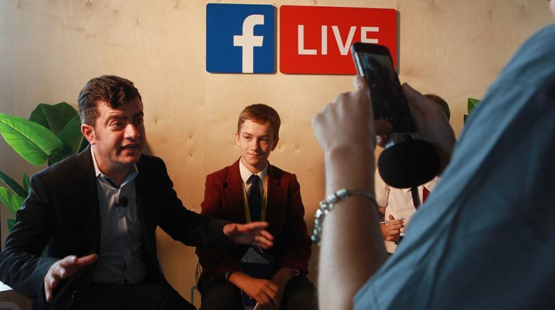 Senator Sam Dastyari being grilled by media literacy leaders in the Facebook Live booth at the 2017 MediaMe conference in Sydney. Photo: Jacky Ghossein
